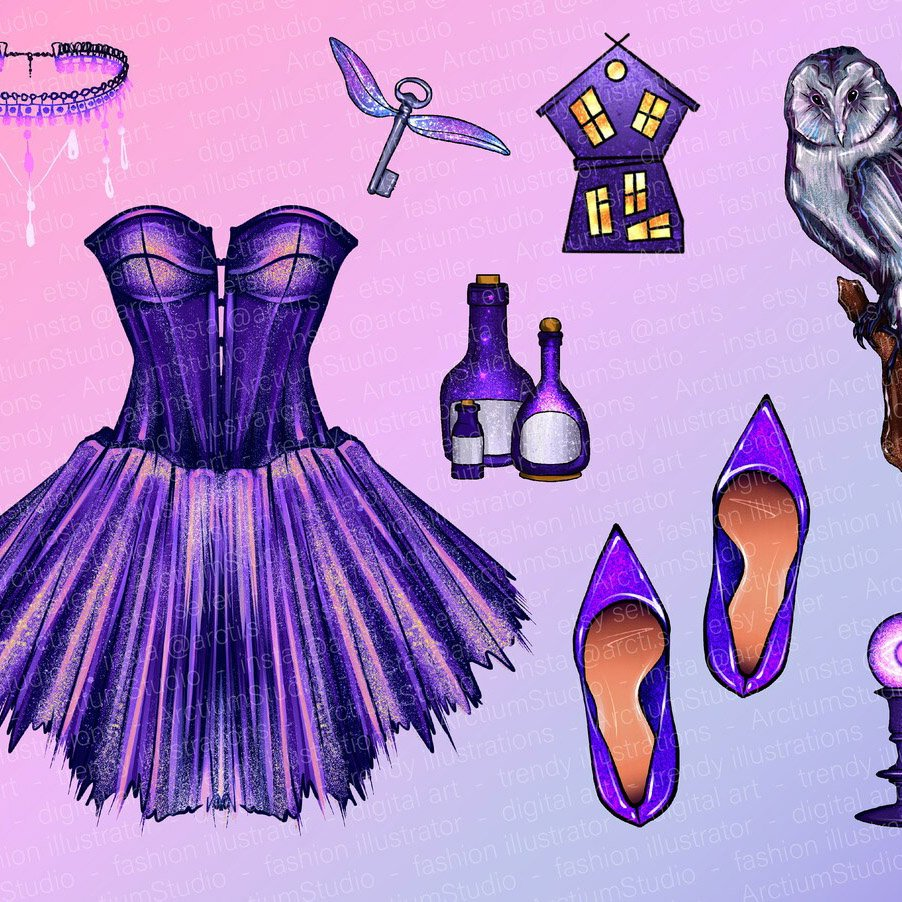 Magic Clipart Set of Purple Halloween 32 Png Files cover image.