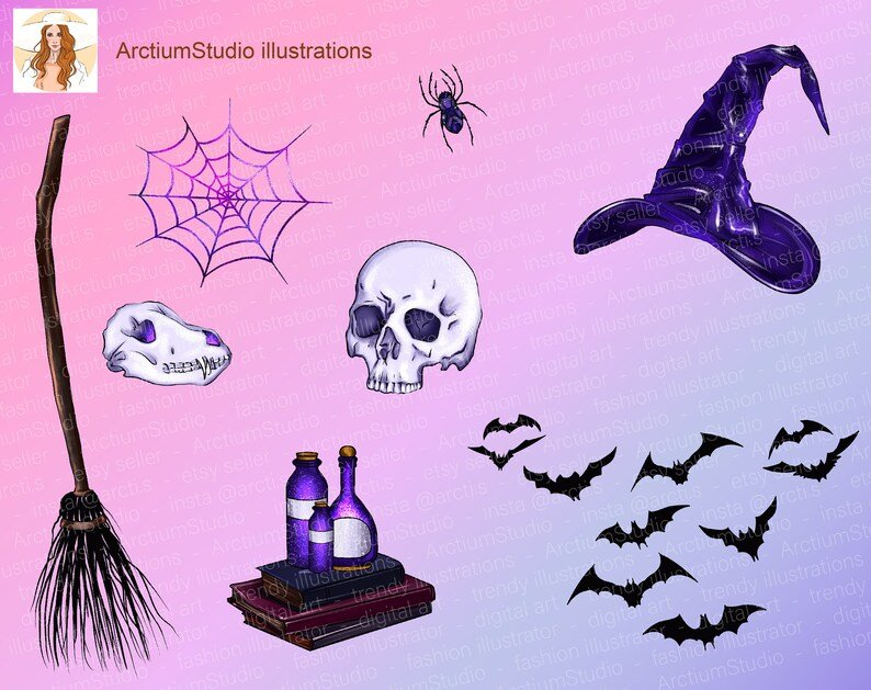 The main elements of the collection are with skulls, spider webs and a broom.