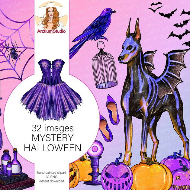 Magic Clipart Set of Purple Halloween 32 Png Files Example.