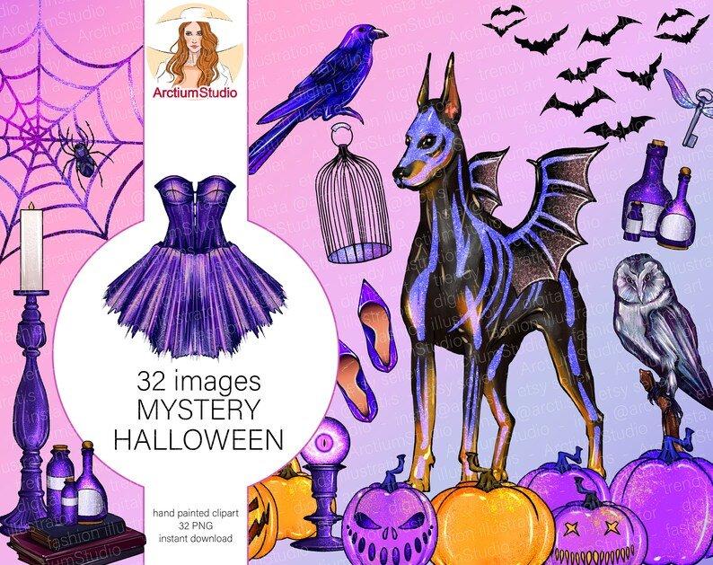 Purple magic fairy-tail with bats, unicorn and pumpkins.