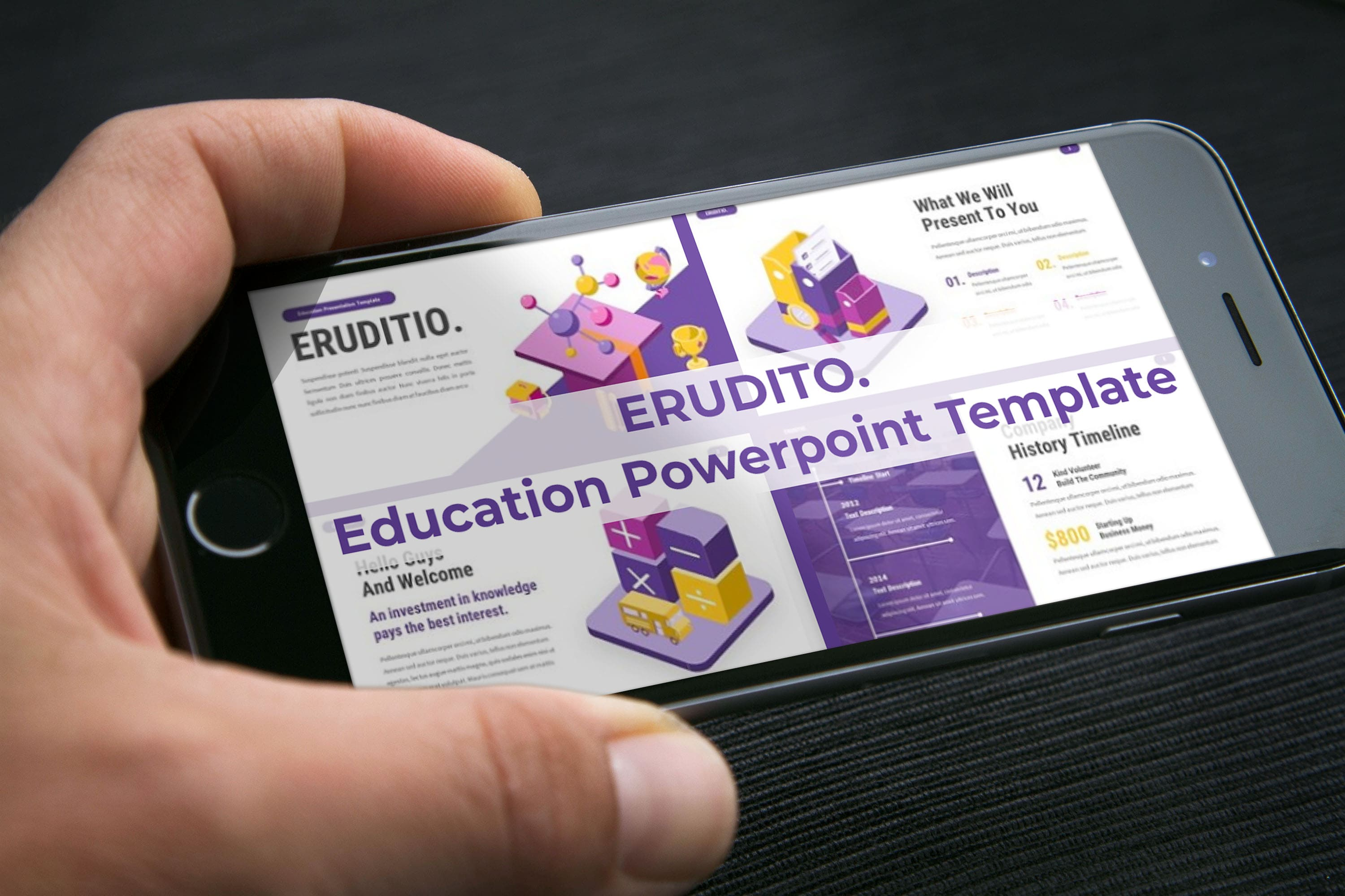 Mobile option of Eruditio - Education Powerpoint Template.