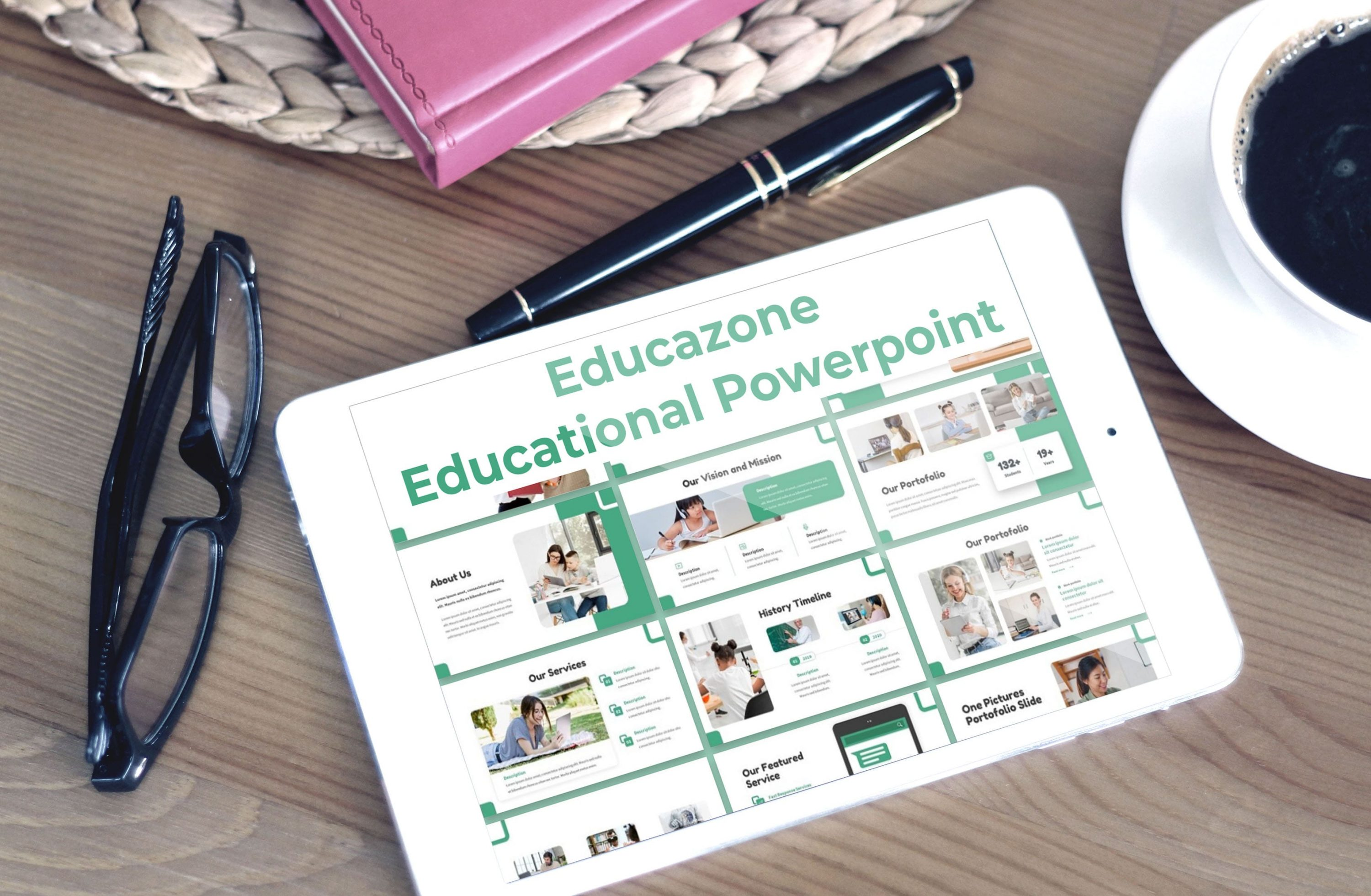Tablet option of the Educazone template.