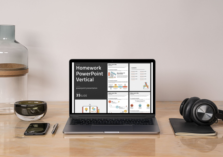 Laptop option of Homework PowerPoint Vertical.