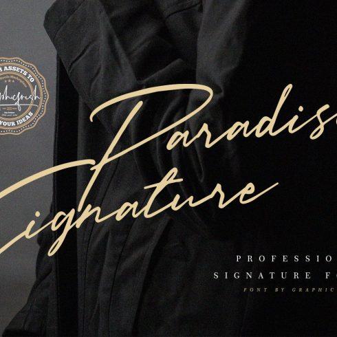 Paradise Signature Font Example.