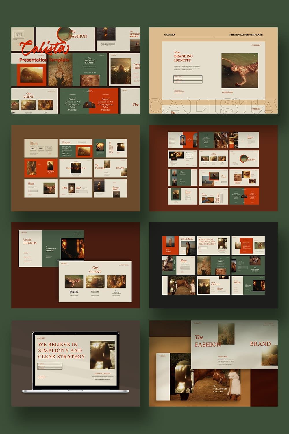 Deep greens, brown elements and red typography are a classic set for a quality presentation.