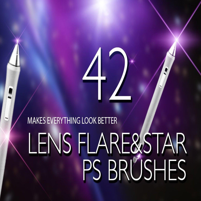 Lens Flare & Stars Photoshop Brushes main cover.