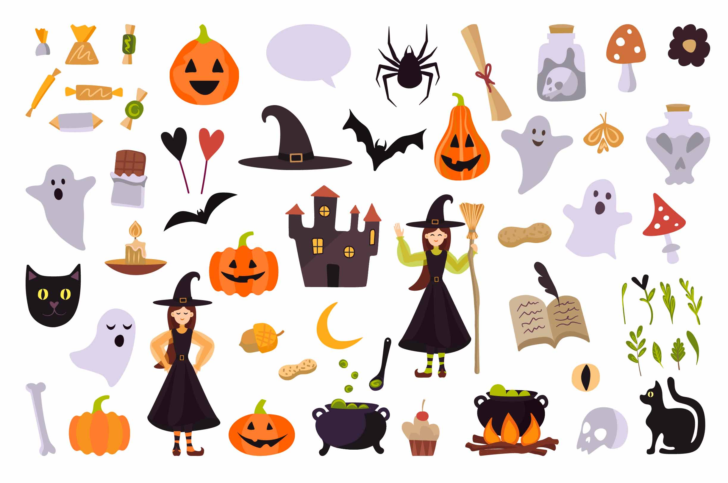 preview halloween illustrations witch, spider.