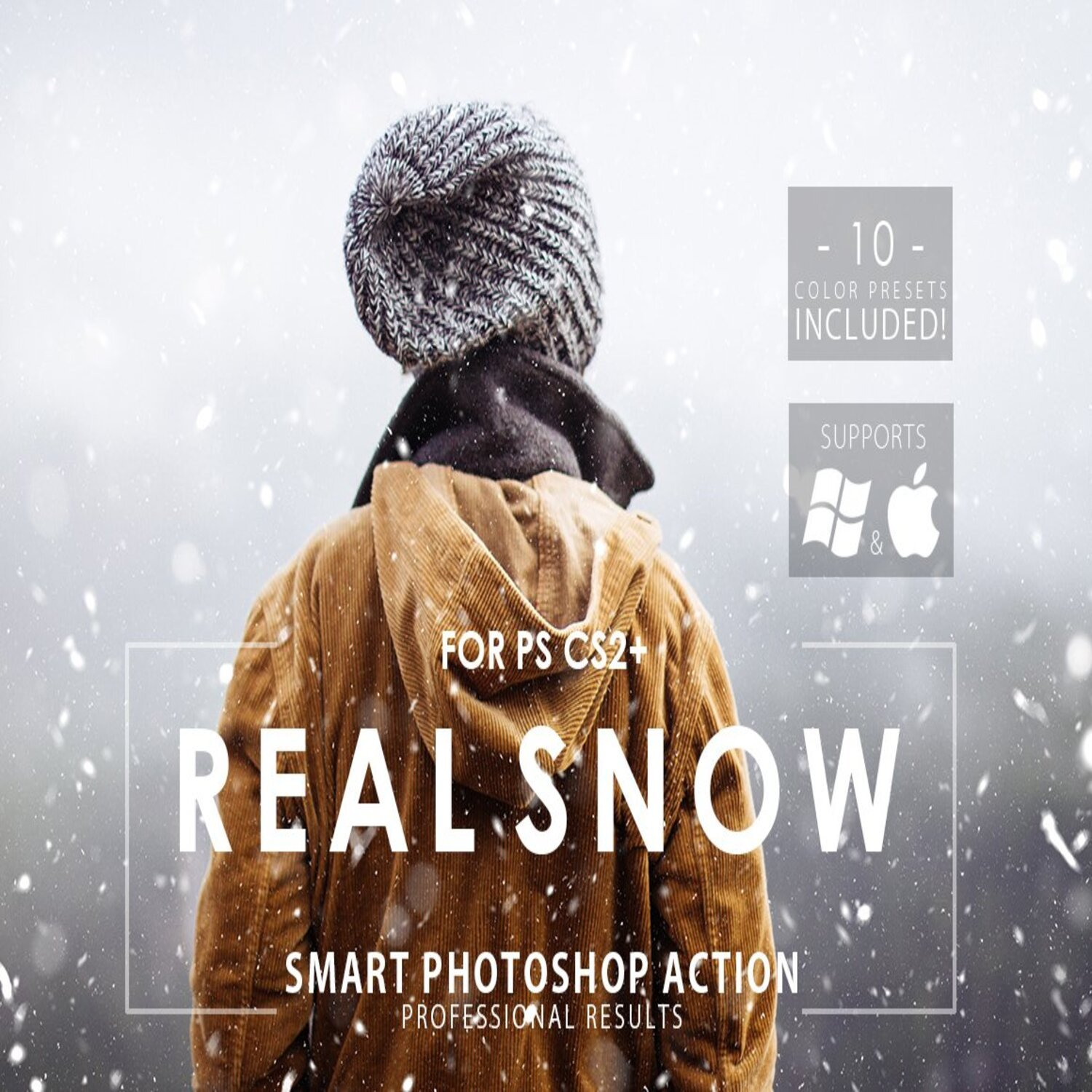 Real Snow Photoshop Action main cover.