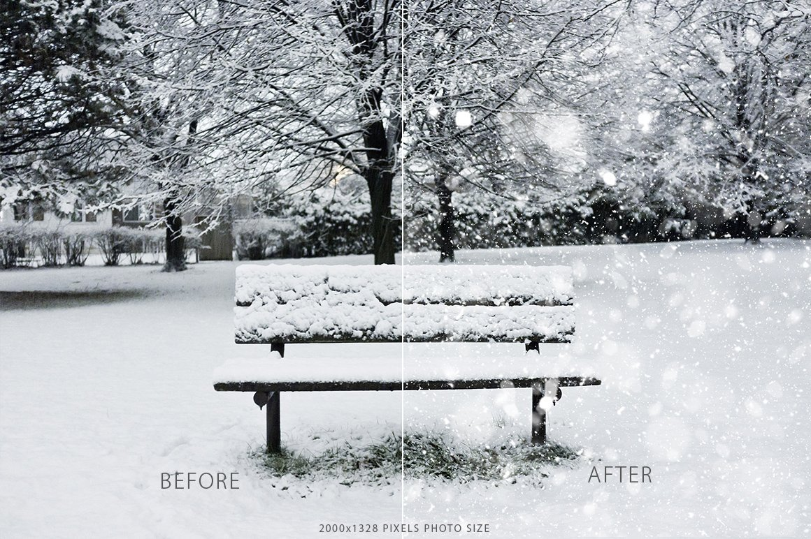 Lonely bench with the snow.