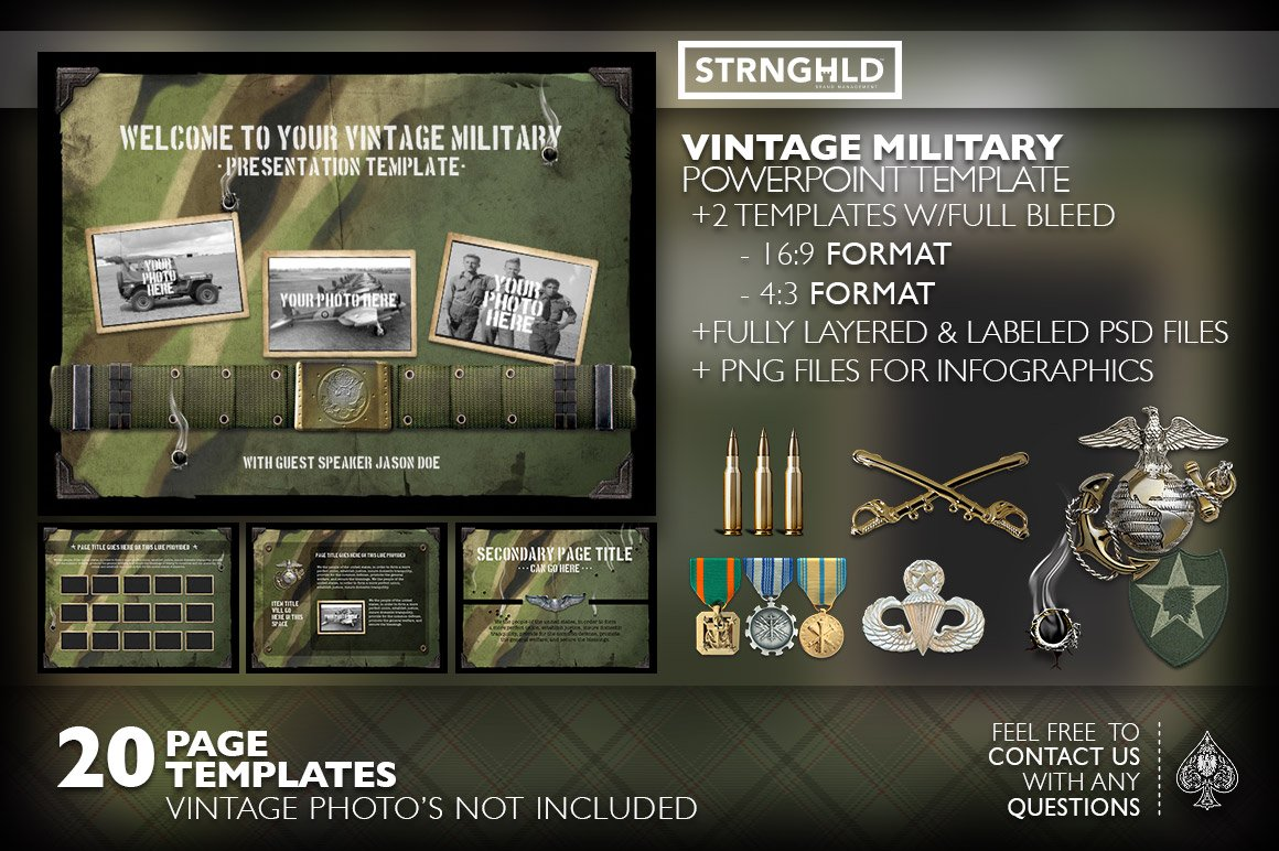 The template collection features medals and orders that you can add to your presentation.