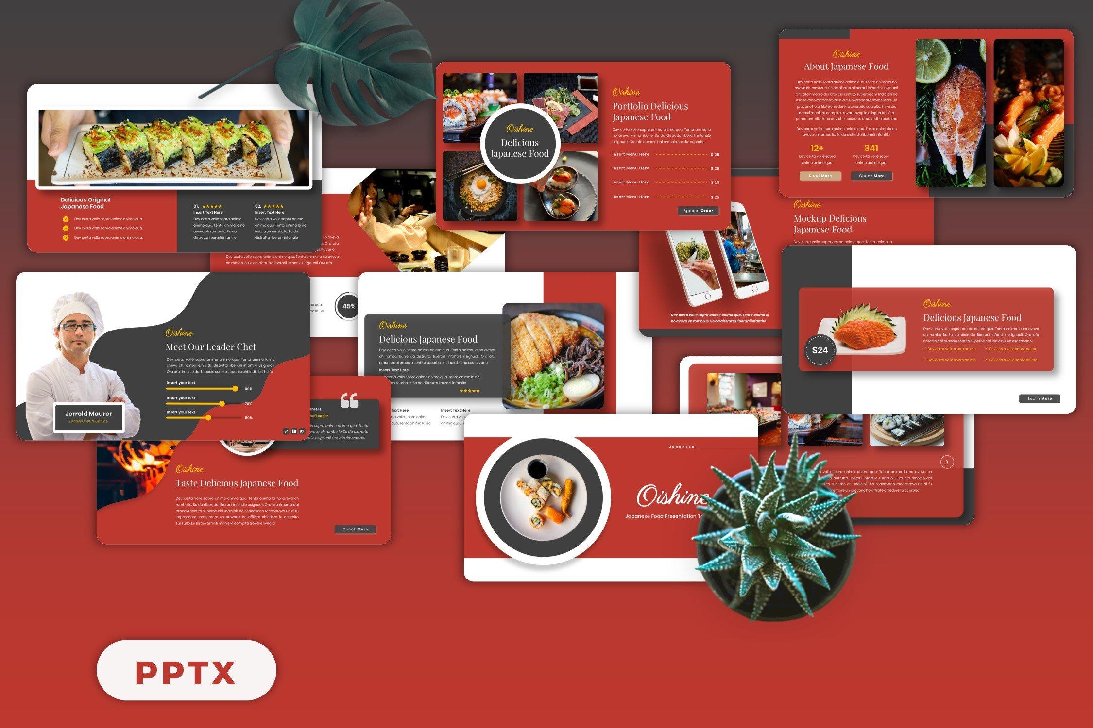 Each slide conveys the atmosphere of Japanese cuisine.