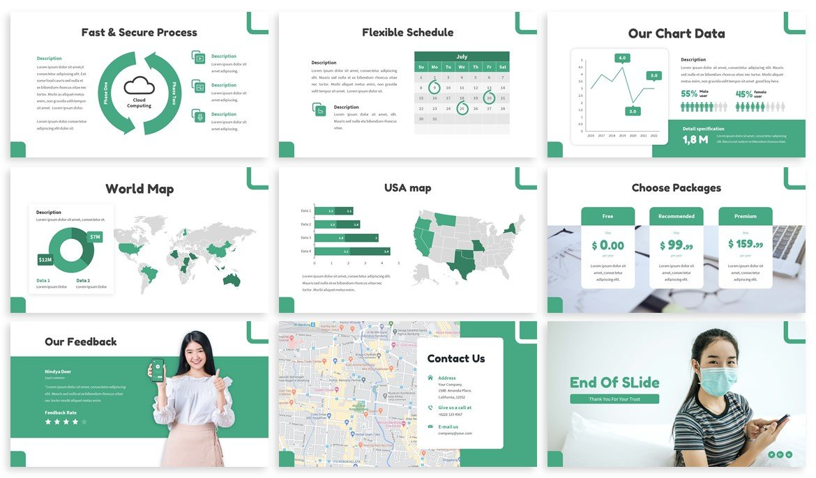 Also template includes maps, infographics and diagrams in themed colors.