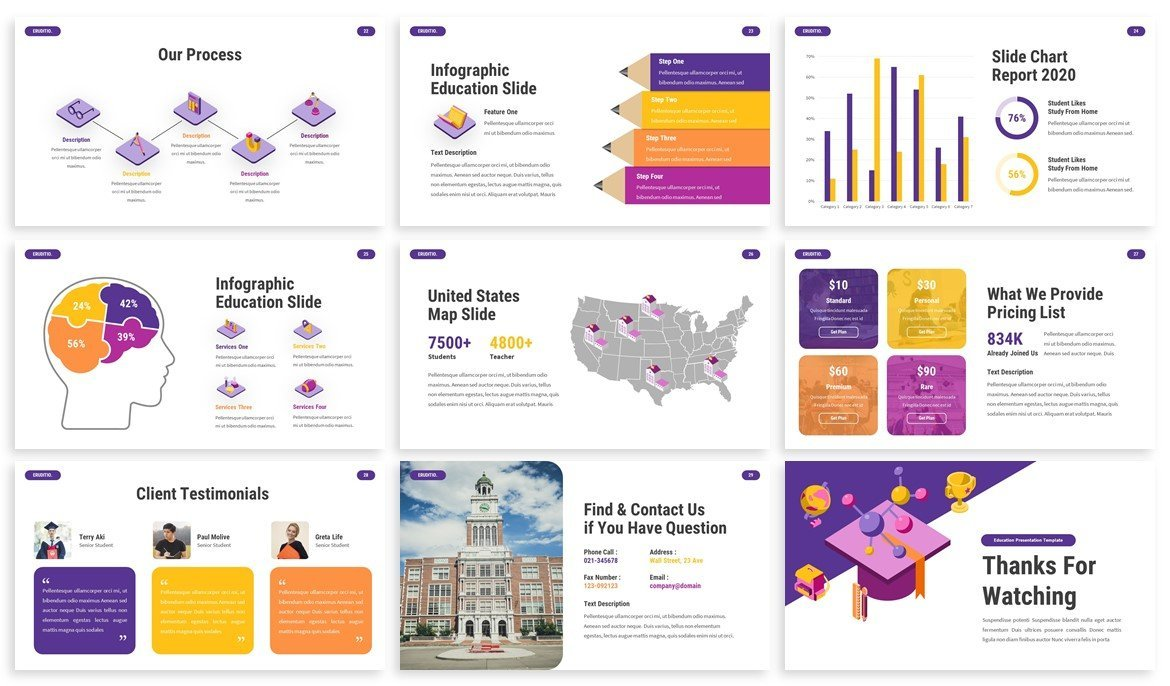 The collection of the template has internal icons and infographics that perfectly convey complex information in a simple way.