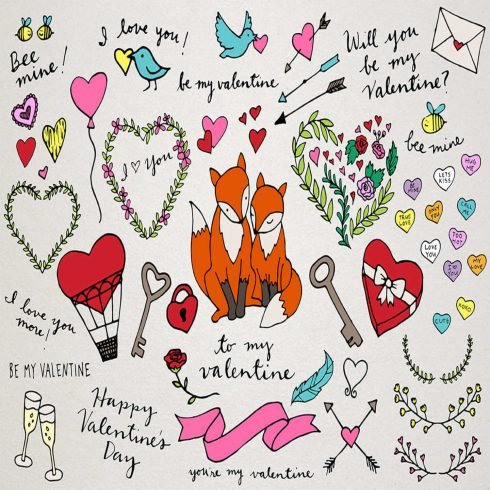 Valentine's Day Illustrations main cover.