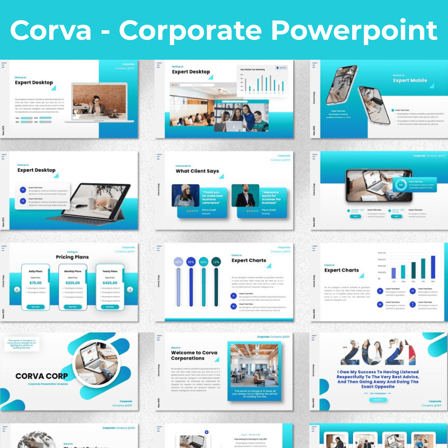 Corva - Corporate Powerpoint main cover.