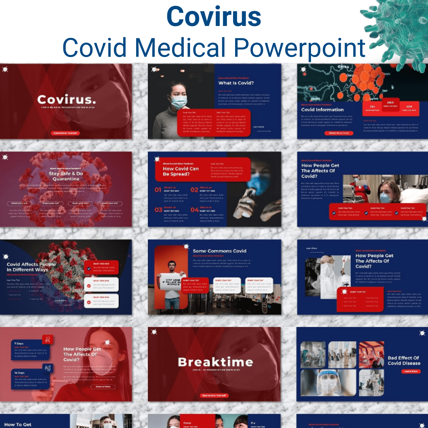 Covirus - Covid Medical Powerpoint main cover.