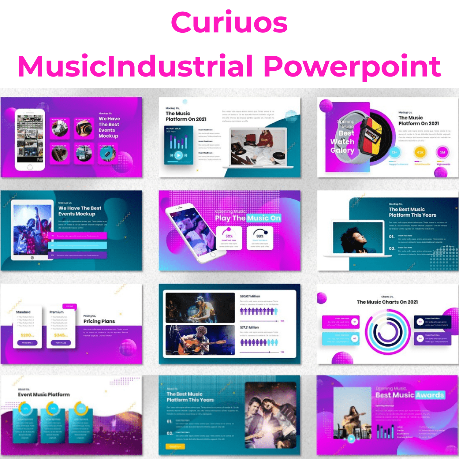 Curiuos - Music Industrial Powerpoint main cover.