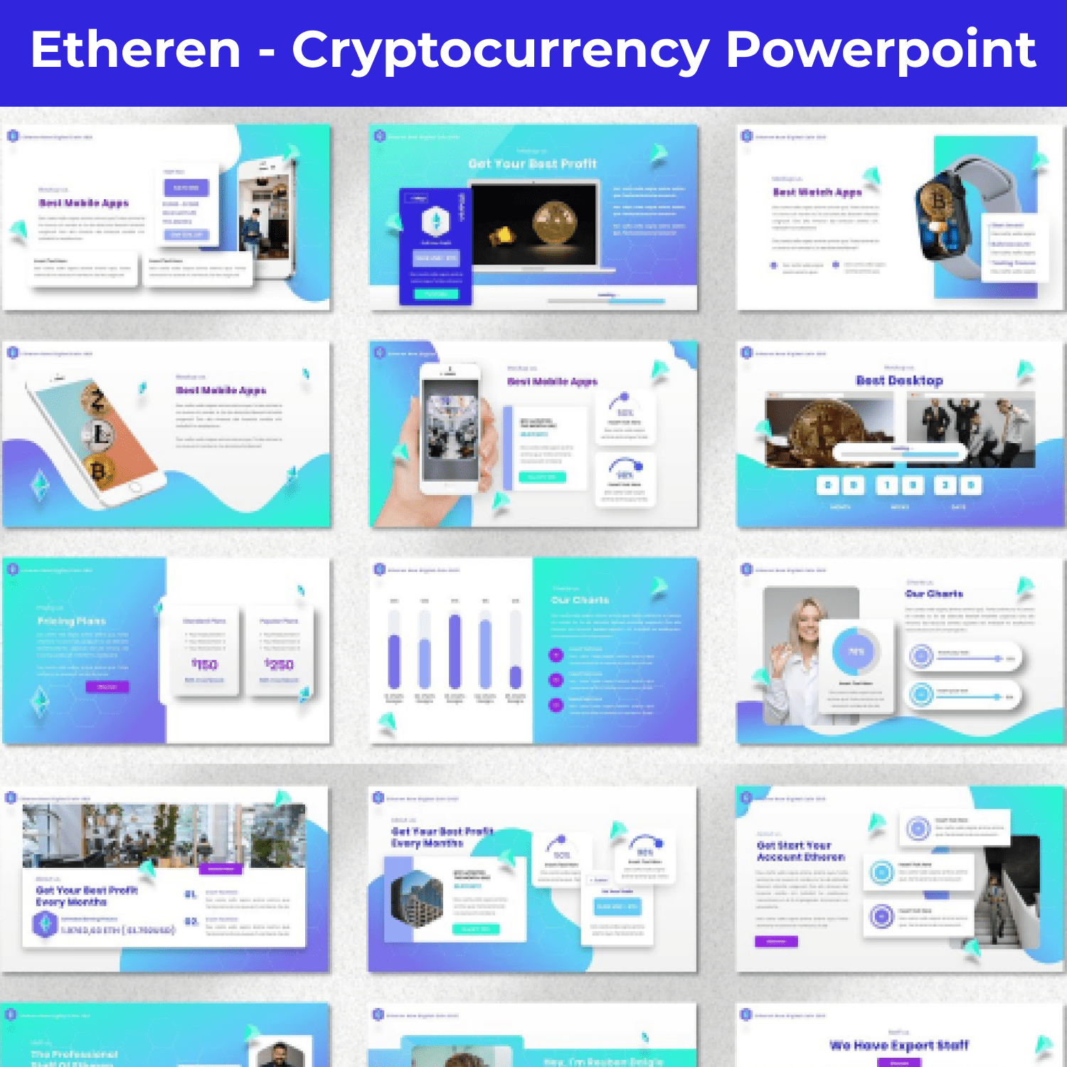 Etheren - Cryptocurrency Powerpoint main cover.
