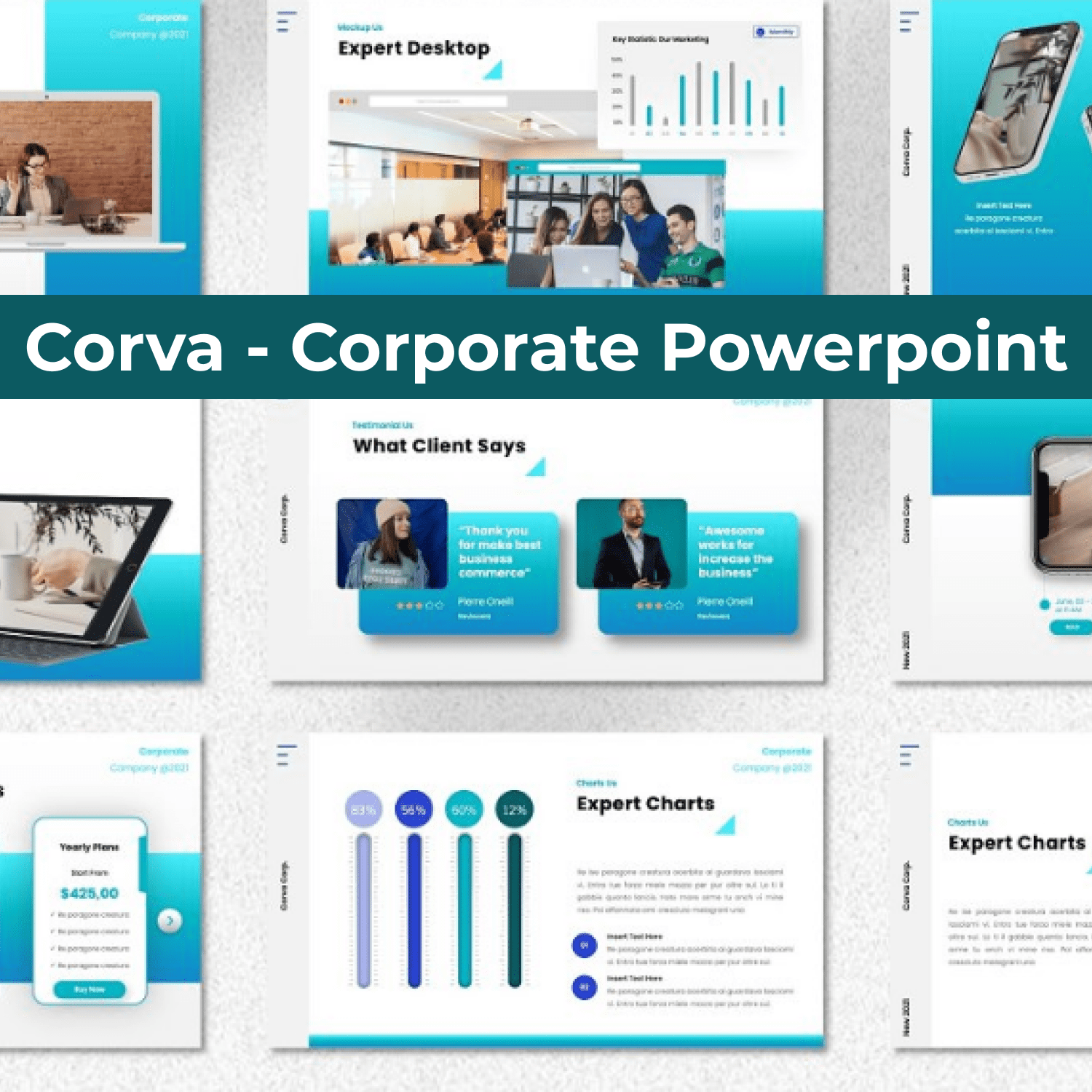 Corva - Corporate Powerpoint cover image.