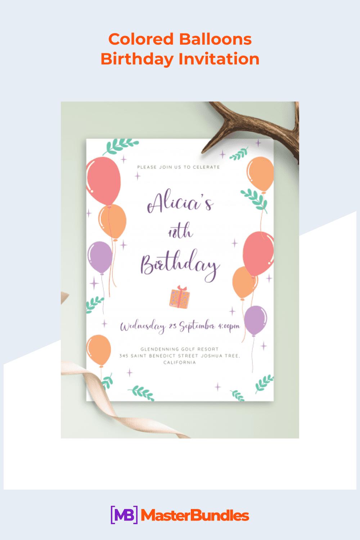 Colored balloons birthday invitation.