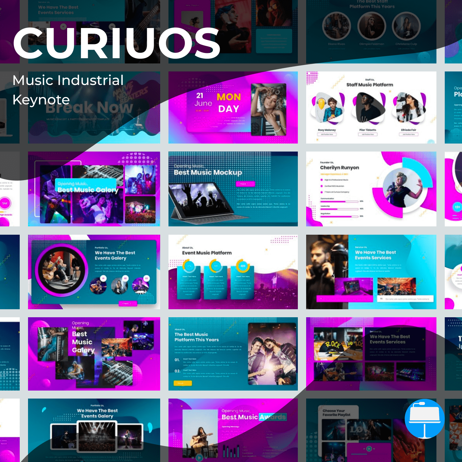 Curiuos - Music Industrial Keynote main cover.