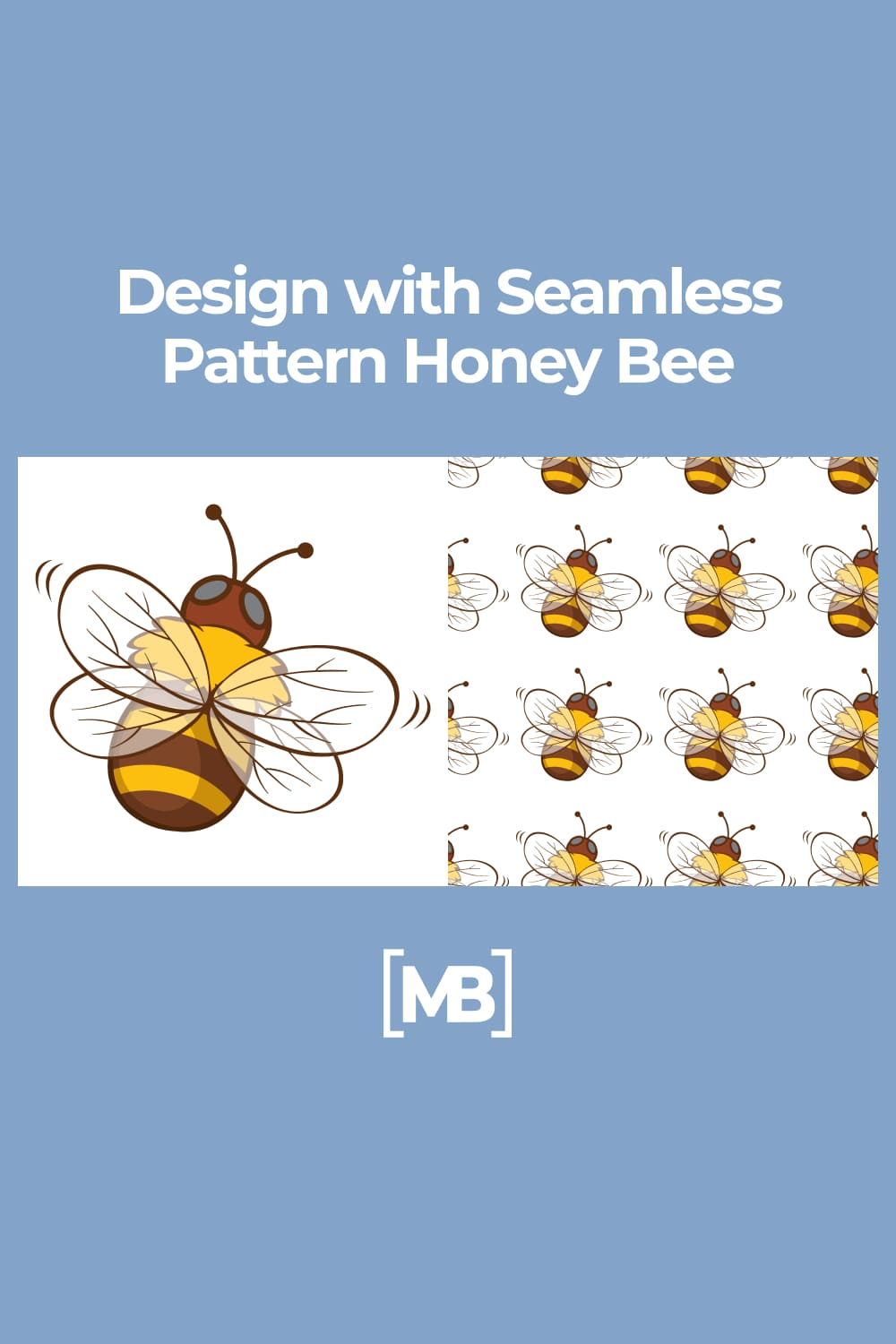 Design with Seamless Pattern Honey Bee.