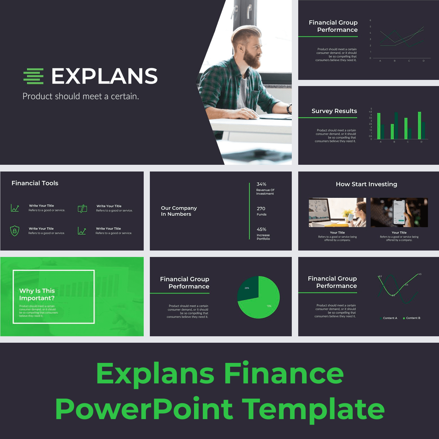 Explans Finance PowerPoint Template main cover.