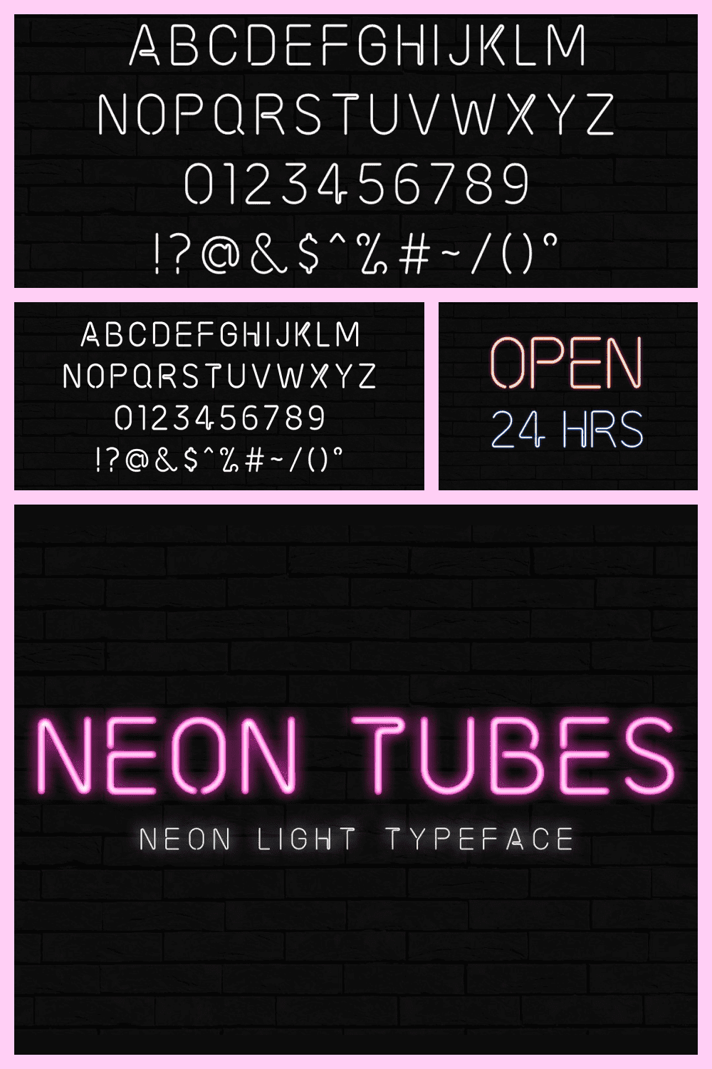 Pink neon font.