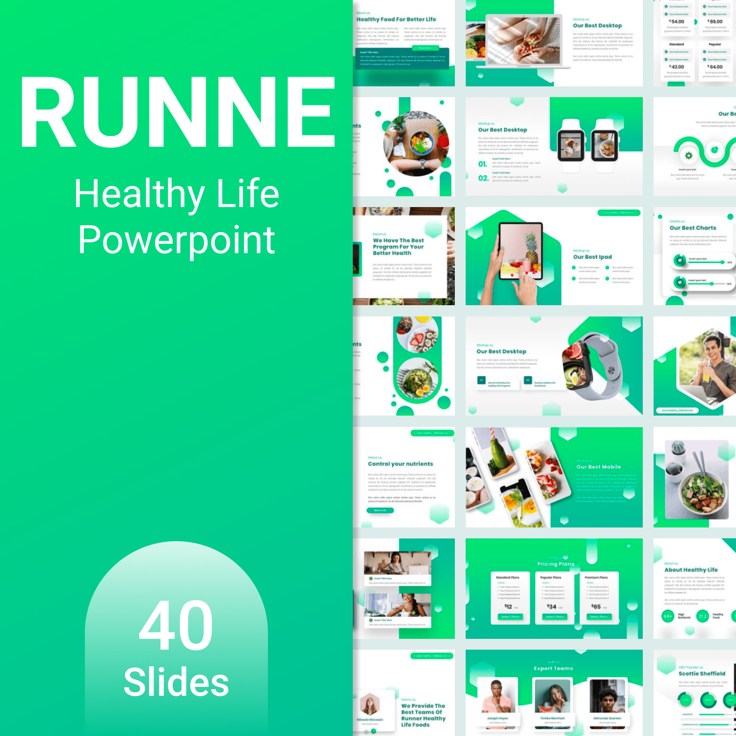 Runne - Healthy Life Powerpoint main cover.