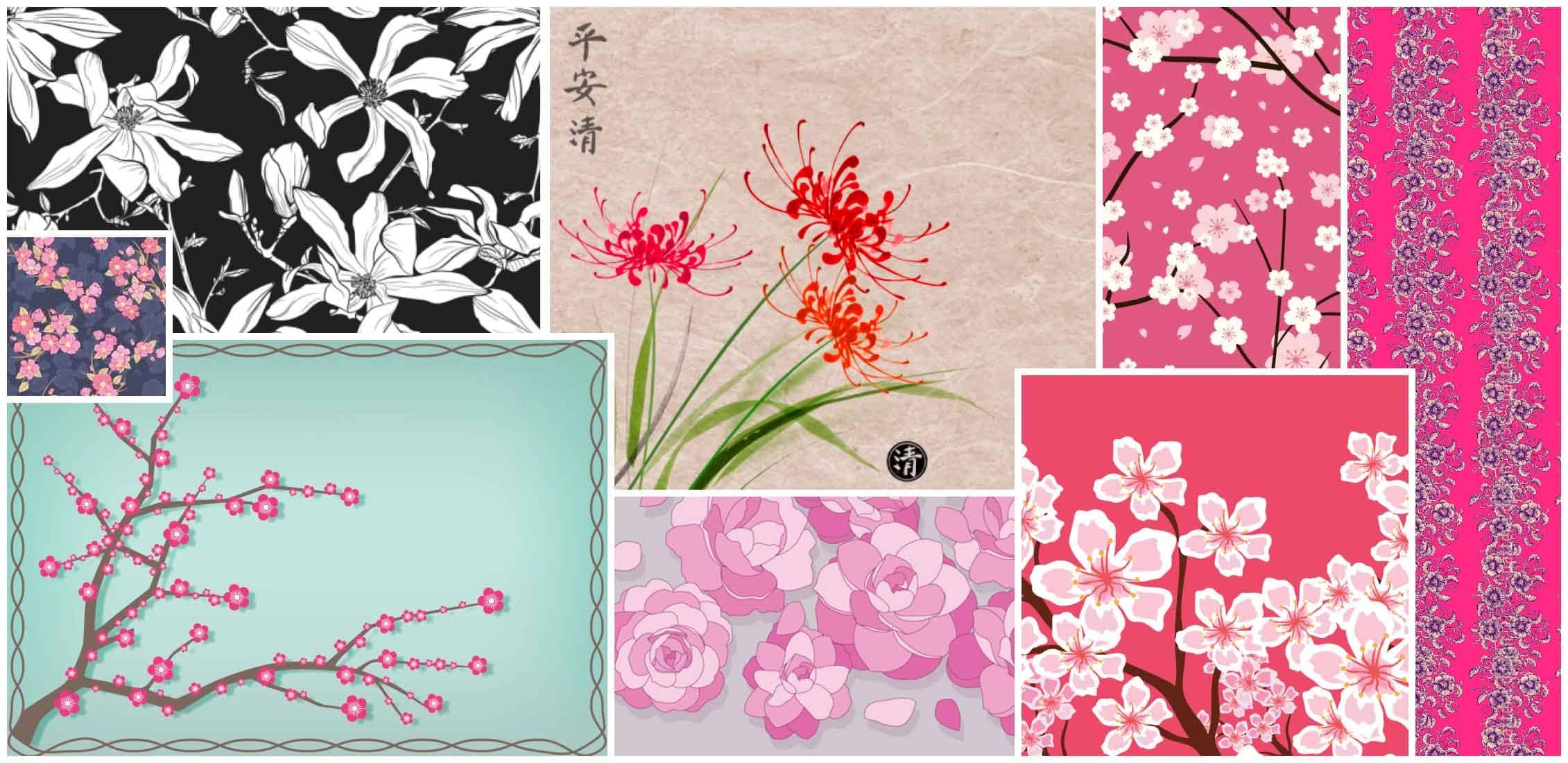 Best Japanese Flower Patterns Example.
