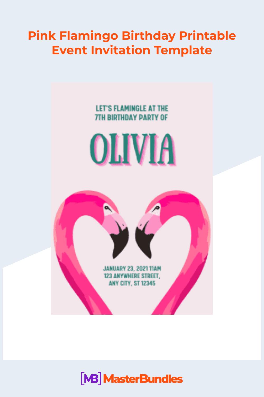 Pink flamingo birthday printable event invitation template.