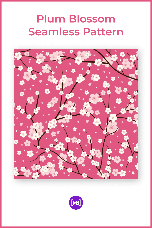 Plum blossom seamless pattern.