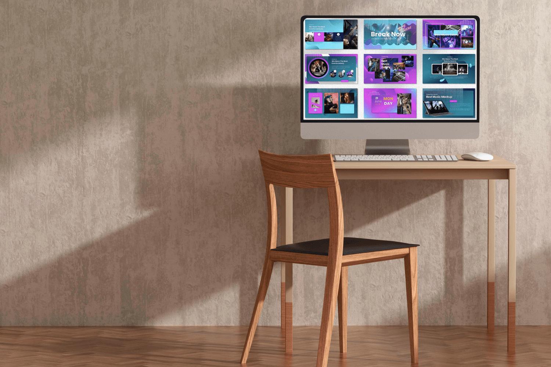 Desktop option of the Curiuos - Music Industrial Keynote.