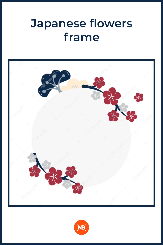 Simple japanese flowers frame.