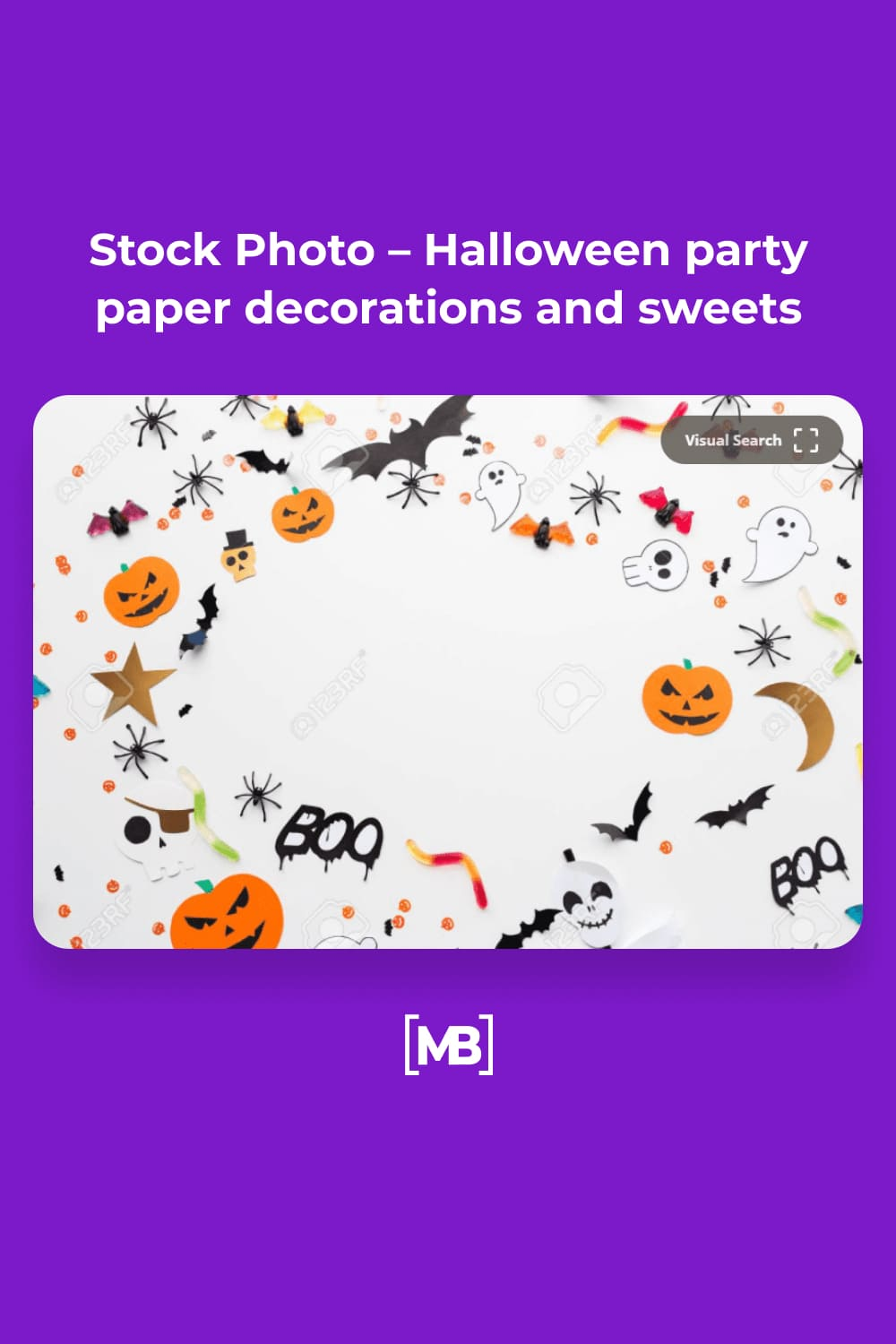 11 Stock Photo – Halloween party paper decorations and sweets