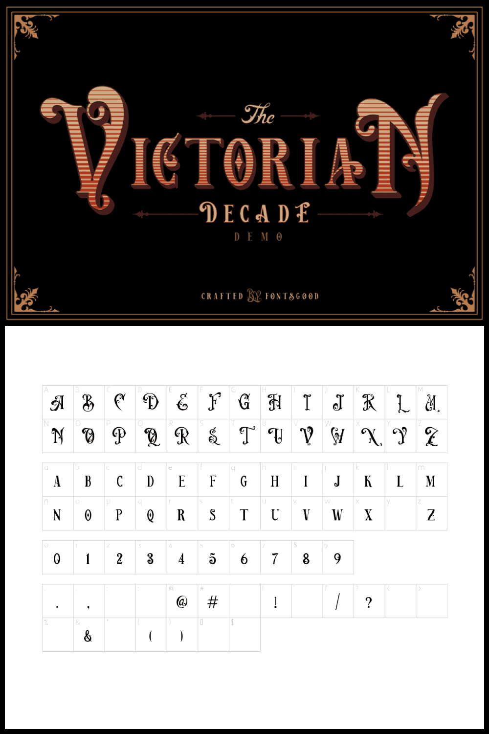 Font with lines.