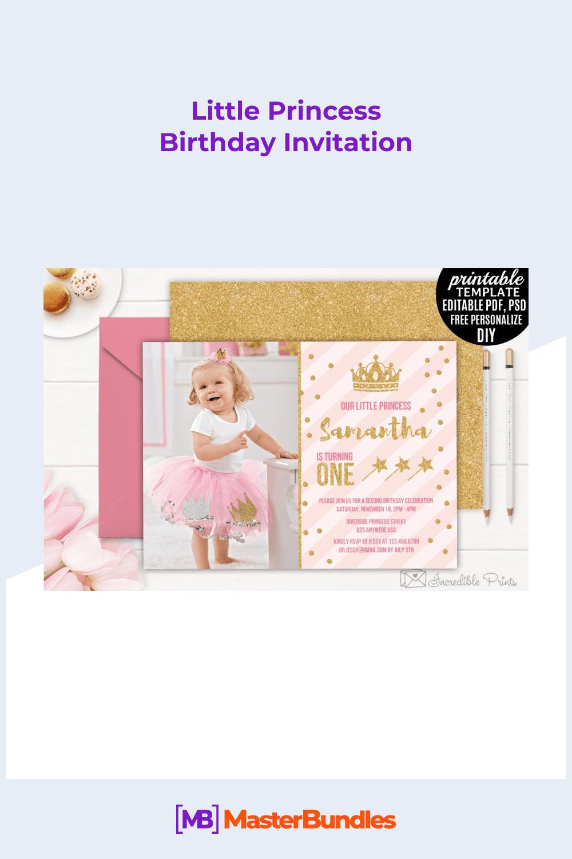 Little princess birthday invitation.