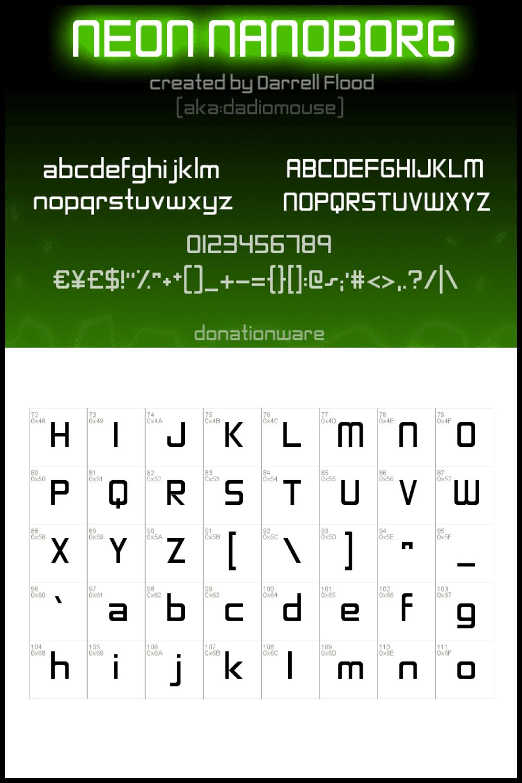 Green neon font.