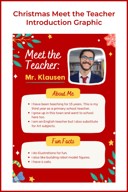 Christmas meet the teacher introduction graphic.