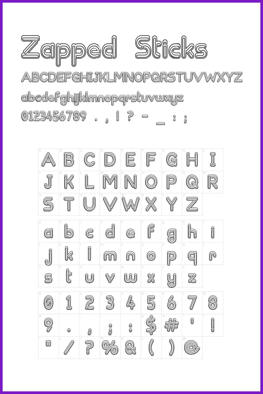 Multi-line font.