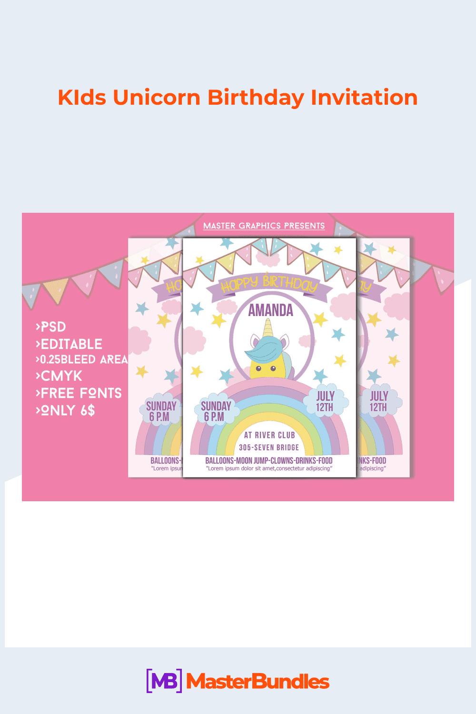 KIds unicorn birthday invitation.