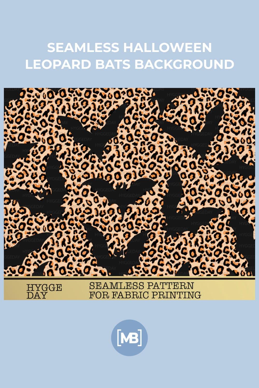 15 Seamless Halloween Leopard Bats Background