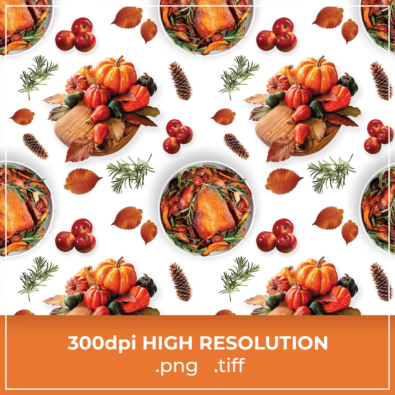 Free Turkey & Pumpkin Thanksgiving Pattern cover image.
