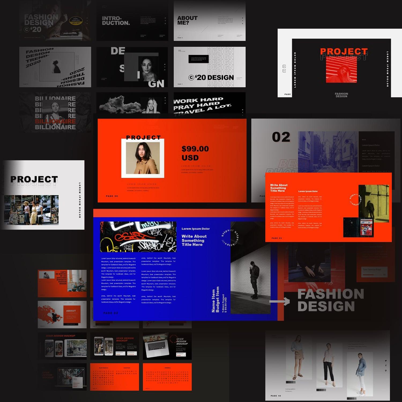 Fashion Design Keynote Template cover image.