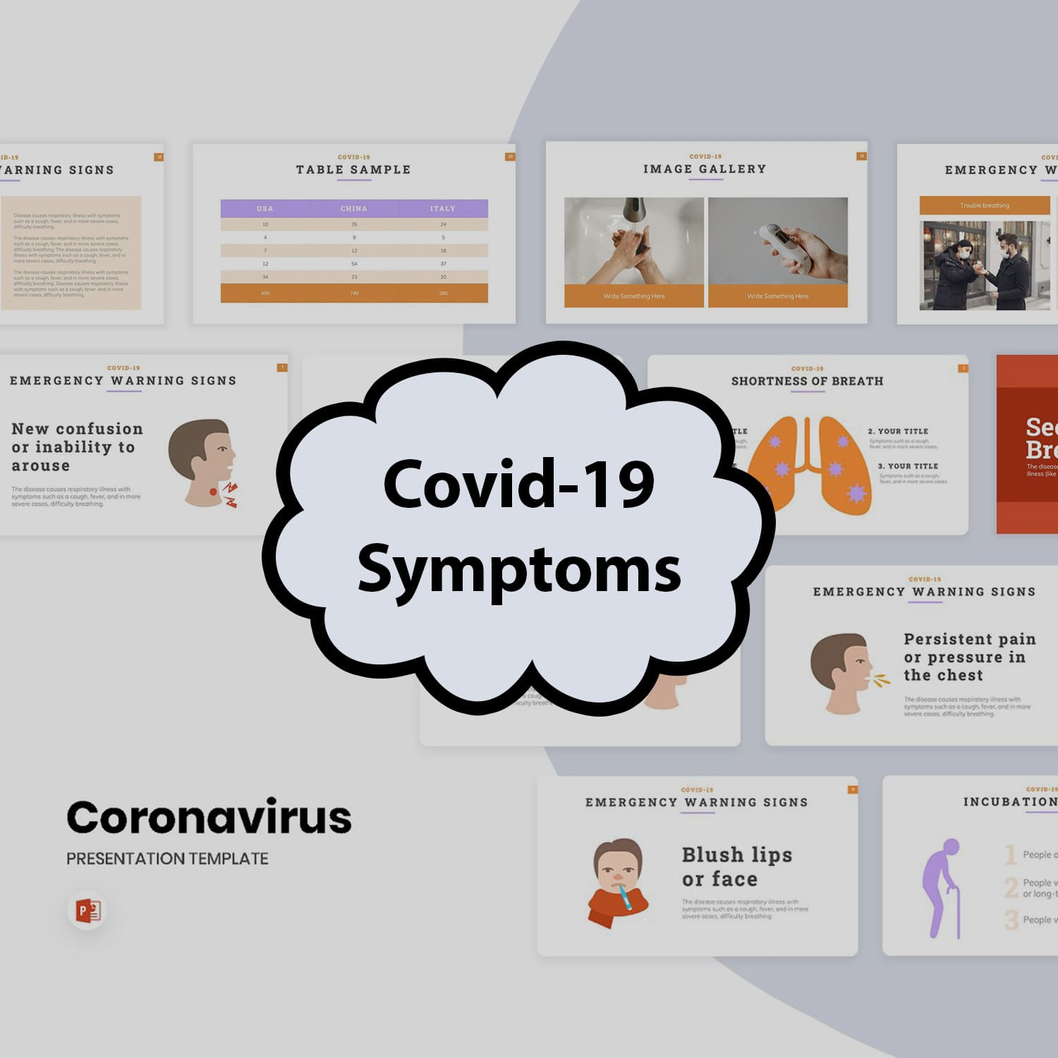 Covid-19 Symptoms PowerPoint main cover.