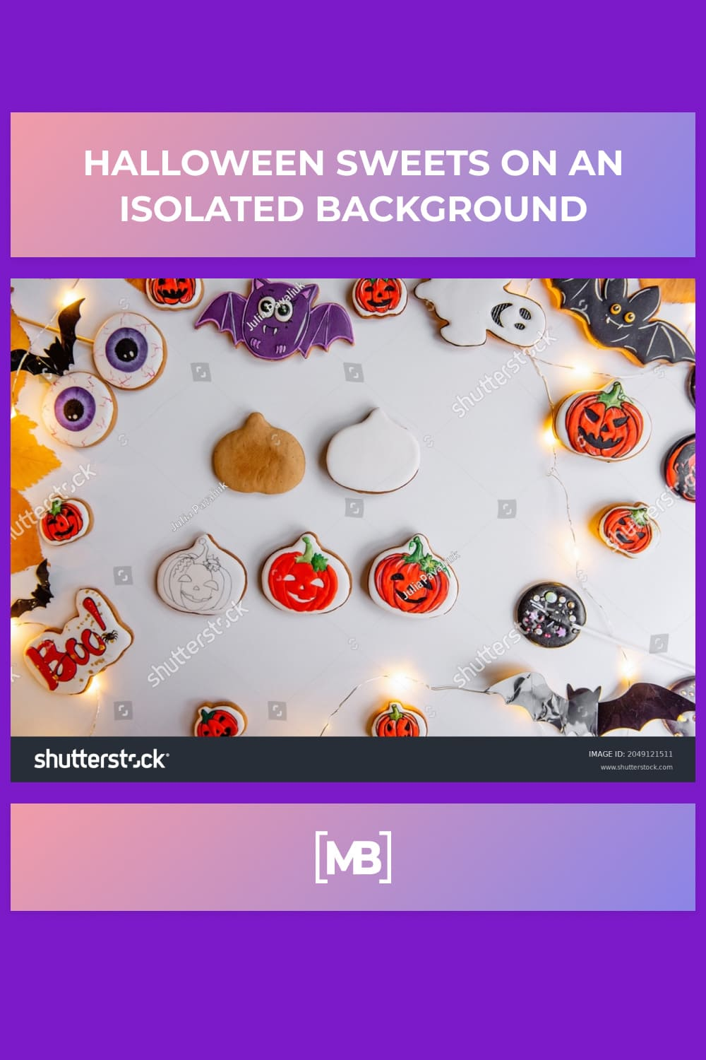 17 Halloween sweets on an isolated background
