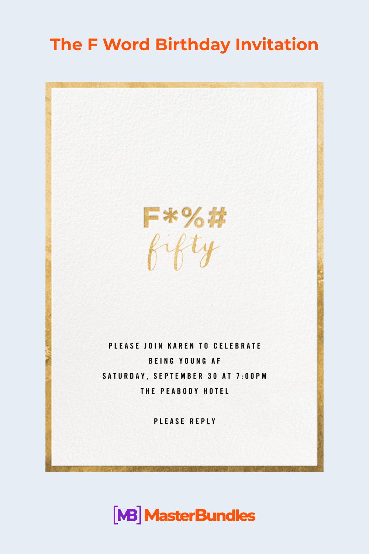The F word birthday invitation.