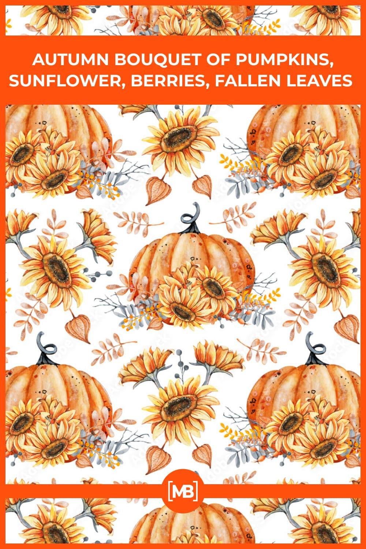 18 Autumn bouquet of pumpkins sunflower berries fallen leaves