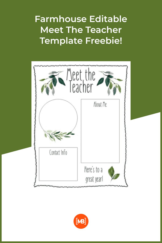 Farmhouse editable meet the teacher template freebie.