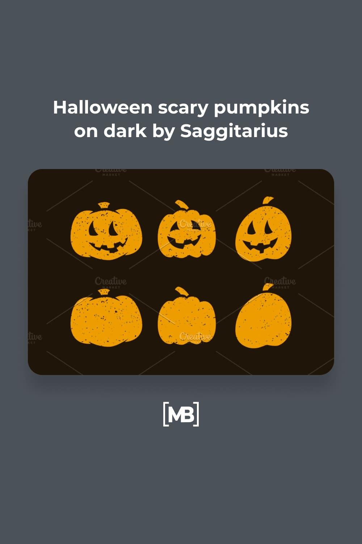 19 Halloween scary pumpkins on dark by Saggitarius